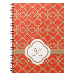 Monogrammed Orange and Gold Moroccan Spiral Notebook