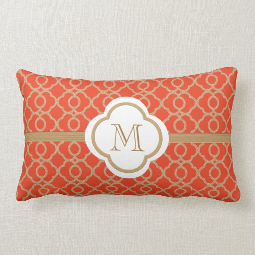 Monogrammed Orange and Gold Moroccan Throw Pillows Zazzle