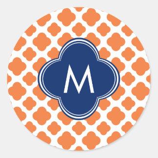 Monogrammed Orange and Royal Blue Quatrefoil Classic Round Sticker