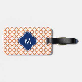 Monogrammed Orange and Royal Blue Quatrefoil Luggage Tags