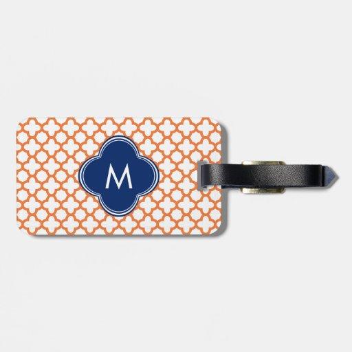 Monogrammed Orange  and Royal Blue Quatrefoil Luggage Tags