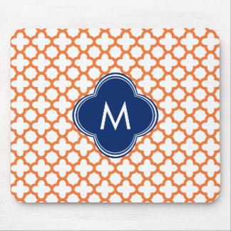 Monogrammed Orange  and Royal Blue Quatrefoil Mouse Pad