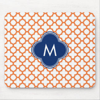 Monogrammed Orange  and Royal Blue Quatrefoil Mousepads