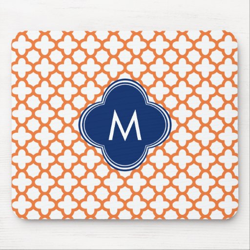 Monogrammed Orange  and Royal Blue Quatrefoil Mousepads