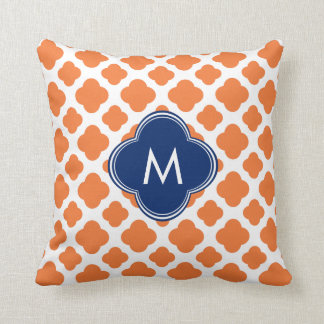 Monogrammed Orange and Royal Blue Quatrefoil Throw Pillow