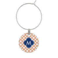 Monogrammed Orange  and Royal Blue Quatrefoil Wine Glass Charm