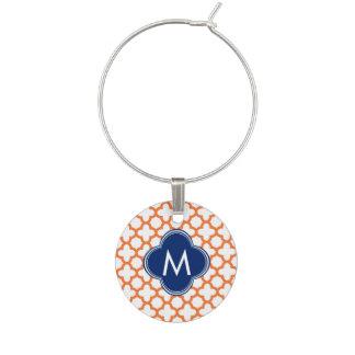 Monogrammed Orange  and Royal Blue Quatrefoil Wine Glass Charm