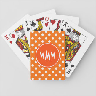 Monogrammed Orange and White Polka Dots Pattern Card Deck
