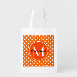 Monogrammed Orange and White Polka Dots Pattern Reusable Grocery Bag