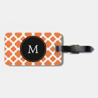 Monogrammed Orange and White Quatrefoil Pattern Tag For Luggage
