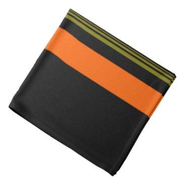 Monogrammed Orange Black Green Striped Pattern Bandana