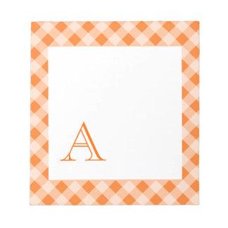 Monogrammed Orange Gingham Notepad