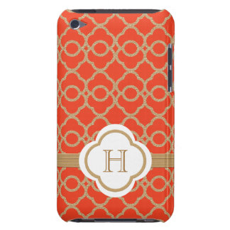 Monogrammed Orange Gold Moroccan Barely There iPod Covers