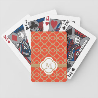 Monogrammed Orange Gold Moroccan Bicycle Card Decks