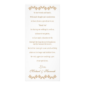 Monogrammed Orange Gold Moroccan Wedding Charity Rack Card