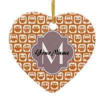 Monogrammed Orange Owls Ceramic Ornament