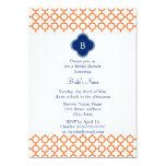 Monogrammed Orange , Royal Blue Quatrefoil Bridal Card
