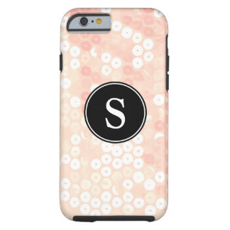 Monogrammed Organic Peach Sequin Glitter Tough iPhone 6 Case