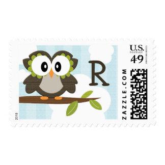 Monogrammed Owl Postage Stamps Blue