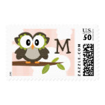 Monogrammed Owl Postage Stamps Pink
