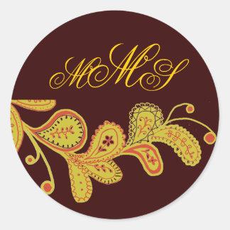 Monogrammed Paisley Chocolate Brown Sticker