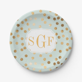 Monogrammed Pale Mint Blue and Gold Glitter Dots 7 Inch Paper Plate
