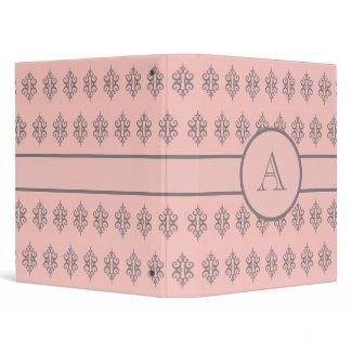 Monogrammed Pale Pink  Binder