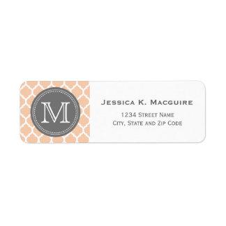 Monogrammed Pale Pink & Grey Custom Return Address Label