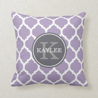 Monogrammed Pale Purple Geometric Moroccan Pattern Throw Pillow