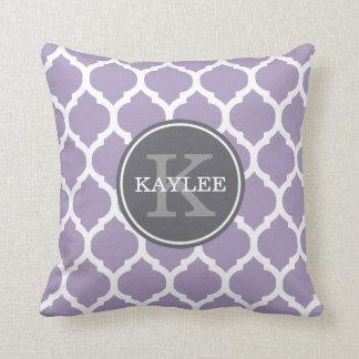 Monogrammed Pale Purple Geometric Moroccan Pattern Throw Pillow