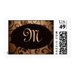 Monogrammed Parchment Oval Postage Stamp