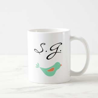 Monogrammed Pastel Green Bird Mugs