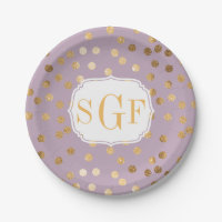 Monogrammed Pastel Purple and Gold Glitter Dots Paper Plate