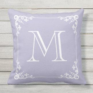 Monogrammed Pastel Purple Elegant Vintage Pillow