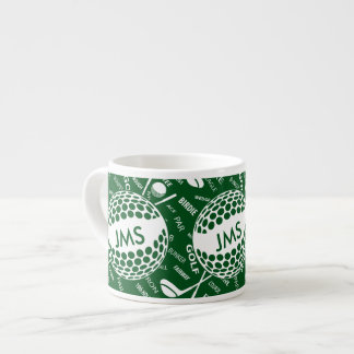 Monogrammed Pattern for the Golfer Espresso Cup
