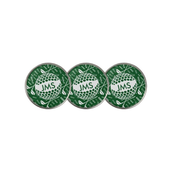Monogrammed Pattern for the Golfer Golf Ball Marker