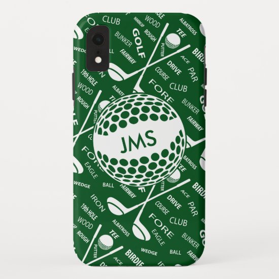 Monogrammed Pattern for the Golfer iPhone XR Case