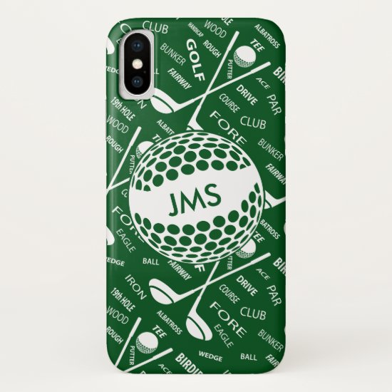 Monogrammed Pattern for the Golfer iPhone XS Case