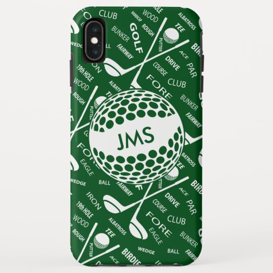 Monogrammed Pattern for the Golfer iPhone XS Max Case
