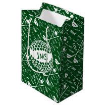 Monogrammed Pattern for the Golfer Medium Gift Bag