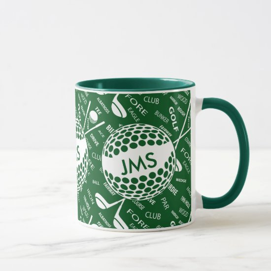 Monogrammed Pattern for the Golfer Mug