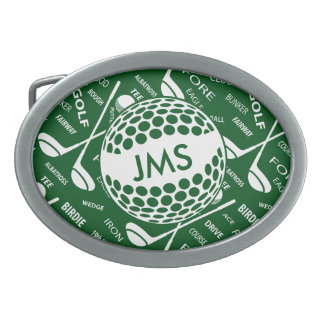 Monogrammed Pattern for the Golfer Oval Belt Buckle