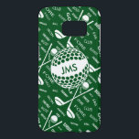 "Monogrammed Pattern for the Golfer Samsung Galaxy S7 Case<br><div class=""desc"">A personalized sports golf themed design in green and white. It features a gold ball that can be customised with monogram initials and a background pattern of golf clubs , golf balls and various golfing terms typography - all brought together to create a unique personalised golfing gift for the pro...</div>"