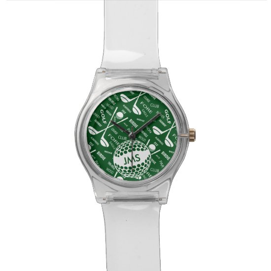 Monogrammed Pattern for the Golfer Wrist Watch