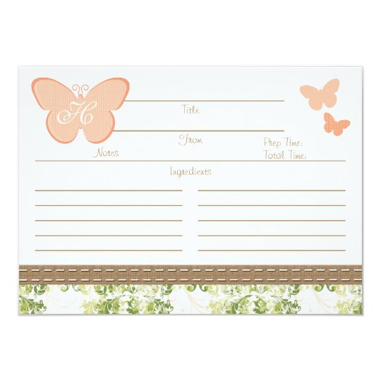 Monogrammed Peach Butterfly Recipe Card