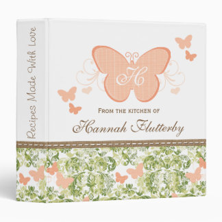 Monogrammed Peach Butterfly Wedding Recipe Binder