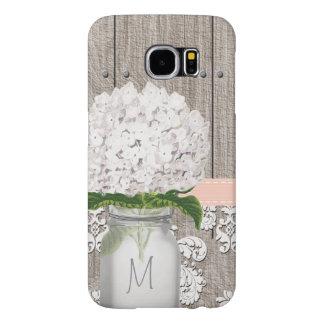 Monogrammed Peach Hydrangea Mason Jar Samsung Galaxy S6 Case