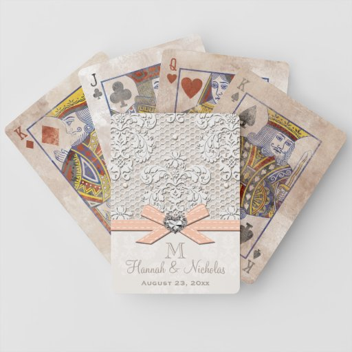 Monogrammed Peach Vintage Lace Pearls Wedding Bicycle Playing Cards