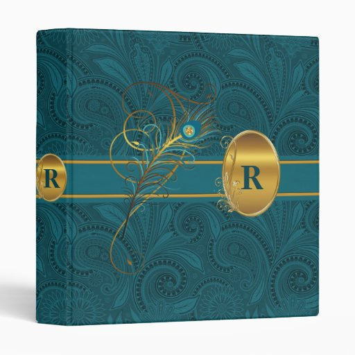 Monogrammed Peacock and Gold Binder