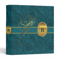 Monogrammed Peacock and Gold Paisely Wedding 3 Ring Binder